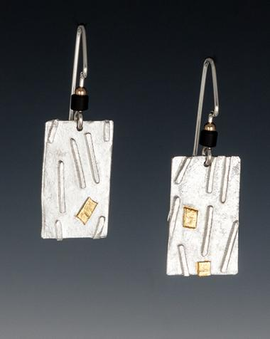Carol Holaday- Fused design silver rectangle earrings