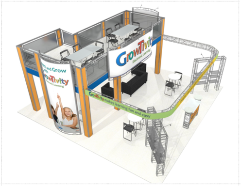 Growtivity 30 x 30 double deck trade show exhibit ariel view.