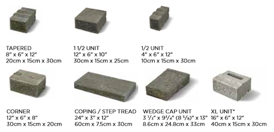 Unilock Concord Wall Sizes and Dimensions