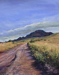 Road to the Heavens, pastel landscape painting by Lindy C Severns, Chinati Peak from Pinto Canyon Road