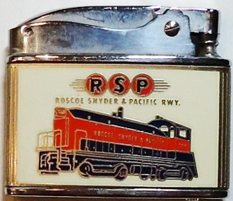 Roscoe, Snyder & Pacific advertising on a cigarette lighter manufactured by Rolex.