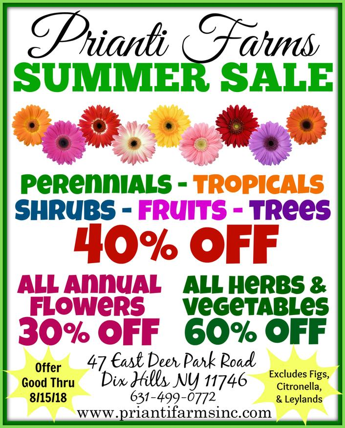 Prianti Plant Herbs Vegetables Flower Savings Special Sale Shrubs Trees Mulch Topsoil Compost Delivery Nursery Long Island