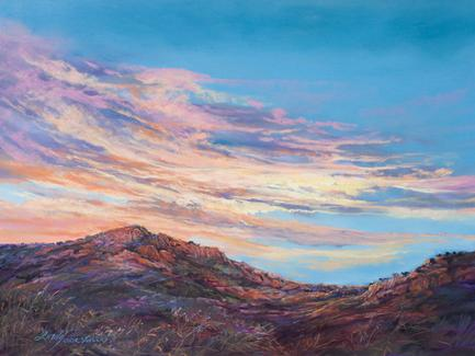 Sunset Paints the Texas Mountains in this richly colored original pastel painting by Texas artist Lindy Cook Severns, Old Spanish Trail Studio, Fort Davis TX