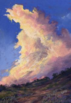 Golden Lining, miniature pastel skyscape by Texas artist Lindy C Severns