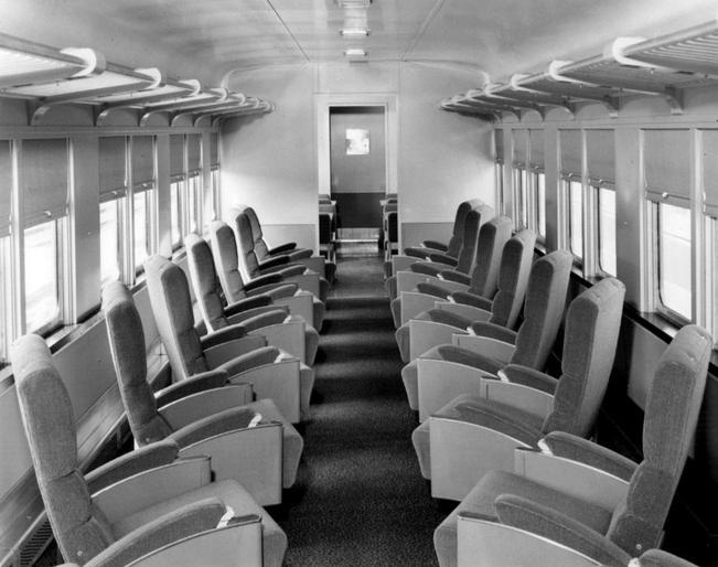 The combination coach/cafe car on the Great Northern Cascadian. The car combined reserved coach seating with a cafe/coffee shop.