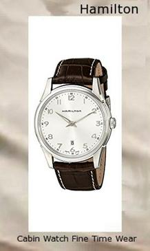 Product Specifications Watch Information Brand, Seller, or Collection Name Hamilton Model number H38511553 Part Number H38511553 Model Year 2010 Item Shape Round Dial window material type Anti reflective sapphire Display Type Analog Clasp Buckle Case material Stainless steel Case diameter 42 millimeters Case Thickness 7 millimeters Band Material Alligator leather Band length Men's Standard Band width 22 millimeters Band Color Brown Dial color Silver Bezel material Stainless steel Bezel function Stationary Calendar Date Special features Water Resistant Item weight 2.08 Ounces Movement Swiss quartz Water resistant depth 165 Feet,hamilton watch
