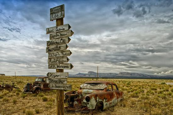old road sign | antique cars | Arizona desert