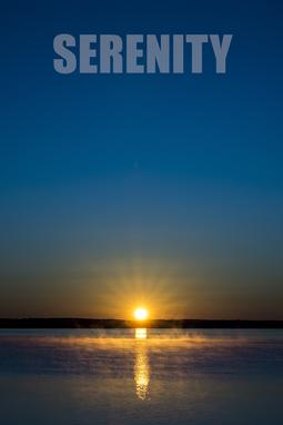 "A picture of a sunrise with the word ""SERENITY"""