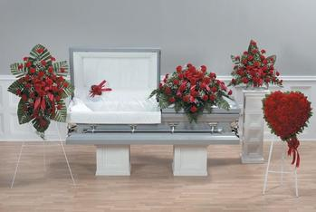 NB-AFD-CTT26 Coordinated Floral display pictured (5 pieces) Standing, Pillow Lid, Casket, Pedestal, Heart $640.00
