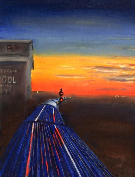 railroad passenger train painting Canada vista-dome