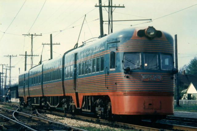 One of the Chicago, North Shore & Milwaukee Railroad's Electroliner trainsets.