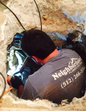 Plumber repairing slab leak in Lakeway, Texas