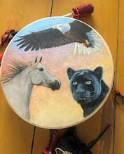 a customer-supplied photo of her beautiful painted hummingbird drum