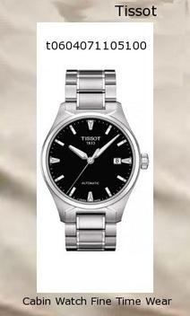 Watch Information Brand, Seller, or Collection Name Tissot Model number T0604071105100 Part Number T0604071105100 Model Year 2011 Item Shape Round Dial window material type Anti reflective sapphire Display Type Analog Clasp deployant-buckle Case material Stainless steel Case diameter 39 millimeters Case Thickness 10 millimeters Band Material Stainless steel Band length Men's Standard Band width 18 millimeters Band Color Silver Dial color Black Bezel material Stainless steel Bezel function Stationary Calendar Date Special features Luminous, measures-seconds Item weight 5.44 Ounces Movement Swiss automatic Water resistant depth 330 Feet