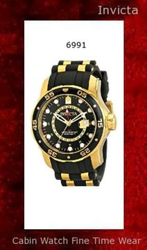 Watch Information Brand, Seller, or Collection Name Invicta Model number 6991 Part Number 6991 Model Year 2015 Item Shape Round Dial window material type Mineral Display Type Analog Clasp Buckle Case material Stainless steel Case diameter 48 millimeters Case Thickness 17 millimeters Band Material Polyurethane Band length Mens-Standard Band width 26 millimeters Band Color Black Dial color Black Bezel material Stainless Steel Bezel function Unidirectional Calendar Date Special features Luminous, includes a seconds-hand, Water Resistant, World time Item weight 8.80 Ounces Movement Swiss quartz Water resistant depth 330 Feet