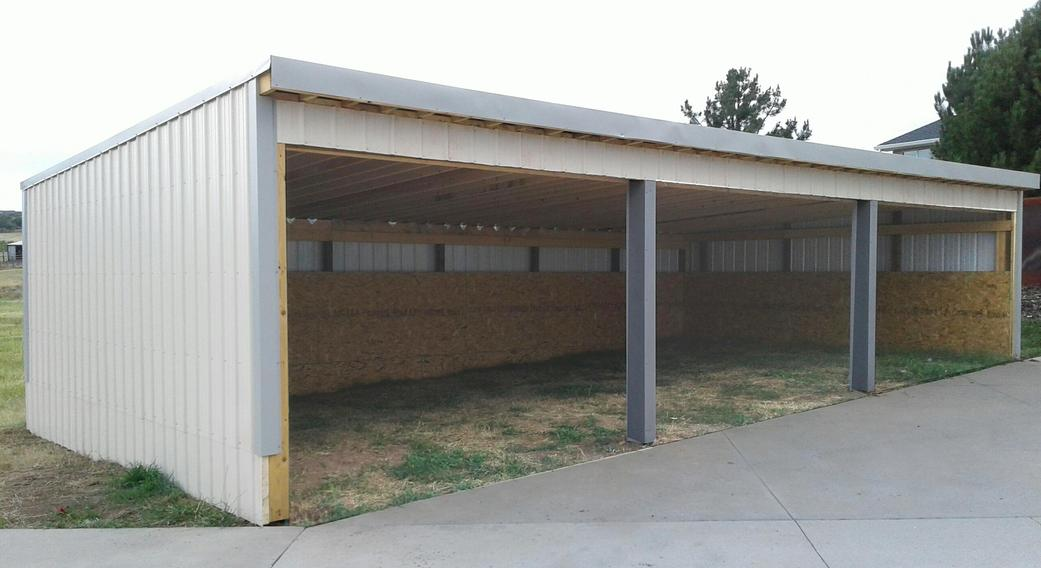 3 sided shed carport Loafing shed