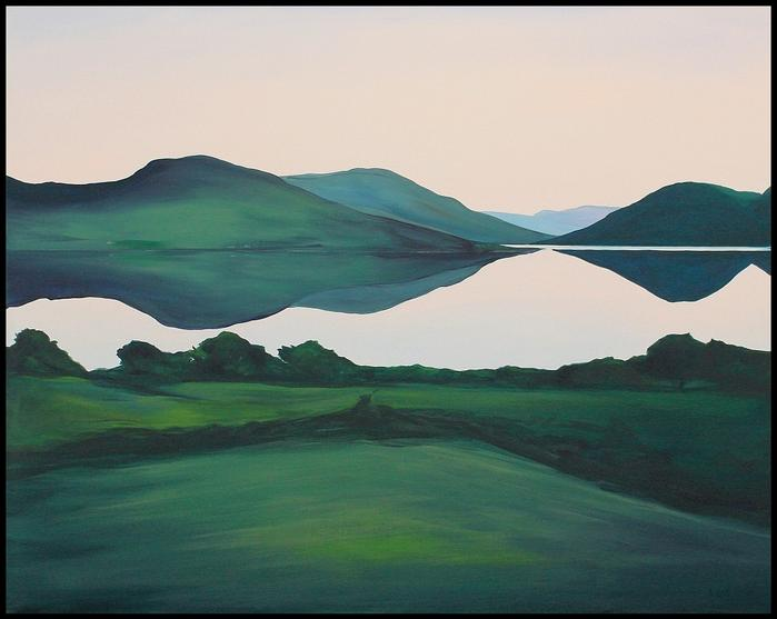 The South Lake Doon 2020. 80x100cm. Acrylic on canvas. Varnished. Framed black wood edge. Cornamona Connemara Landscape Painting by Orfhlaith Egan