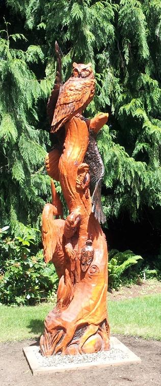 Wildlife totem, wood carving, wood sculpture, wood eagle carving, owld carving, heron carving, tree stump carving, Wood carving Gig harbor, WA