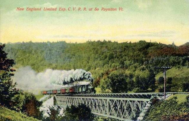 The New England Limited Express of the Central Vermont Railway at South Royalton, Vermont; from a 1909 postcard. The train is shown crossing the White River on Bridge No. 20, 600 feet in length, comprising 4 spans of 144 feet, 2 inches each.