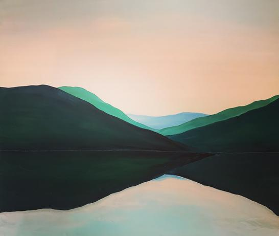 South Lake Study Green Blue Pink 2020 40x45cm Acrylic on Wood Landscape Painting by Orfhlaith Egan, Cornamona to Berlin