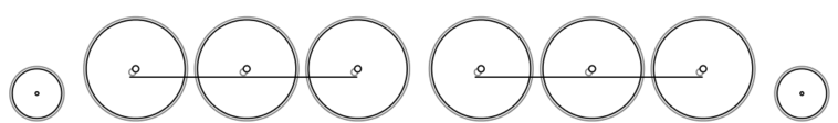 A schematic drawing of the 2-6-6-2 steam locomotive wheel arrangement.
