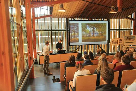 Western Red Cedar provides excellent acoustics in this classroom at the University of Kansas, Marvin Hall