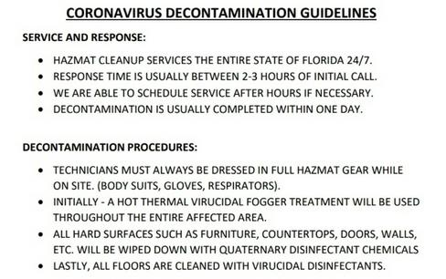 coronavirus decontamination guidelines covid19 decontamination guidelines