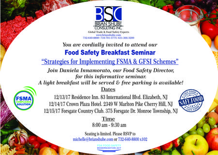 Brian Shube Consulting | Food Safety , health inspections , food labeling , HAACP , Food industry , Business Consulting , Import Export Consulting , Import Consulting , Export Consulting, Global Trade, Food Safety Breakfast Seminar, FSMA GFSI Schemes