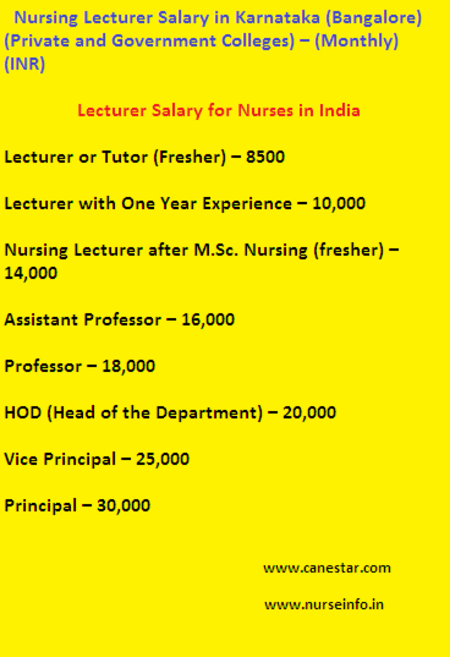 Nurse's lecturer salary, government and private