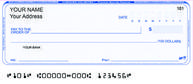 Canadian blue personal cheques with duplicate copy, customized font, logo, or $US.
