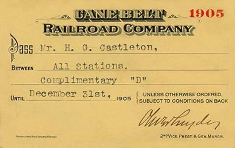 A Cane Belt Railroad pass card from 1905.