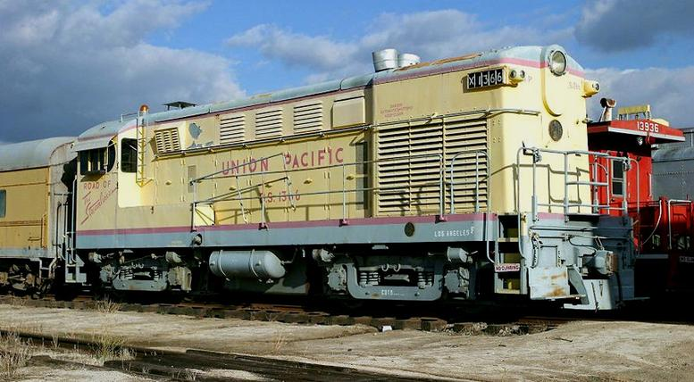 An FM H-20-44 road switcher, retired Union Pacific No. 1369.