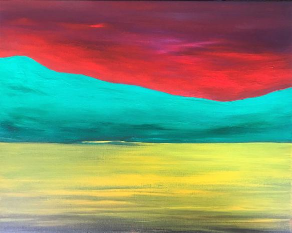 Yellow Lake, Red Sky (The Carraig Shore) 2019. 41x51cm. Acrylic on canvas, varnished. The Cornamona Collection. Orfhlaith Egan Art, Berlin and Cornamona.