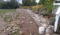 Stone Retaining Wall In Progress