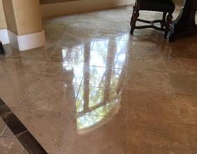 Travertine tile cleaning polishing
