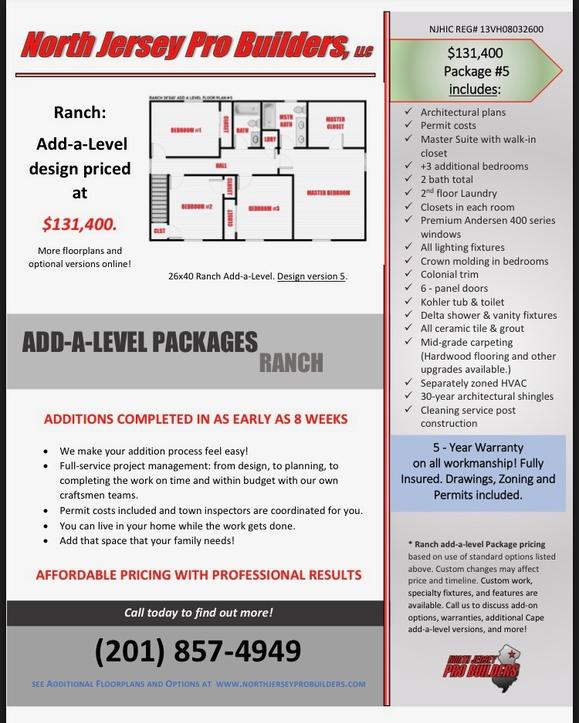 North Jersey Pro Builders | Ranch add-a-level floor plan 5