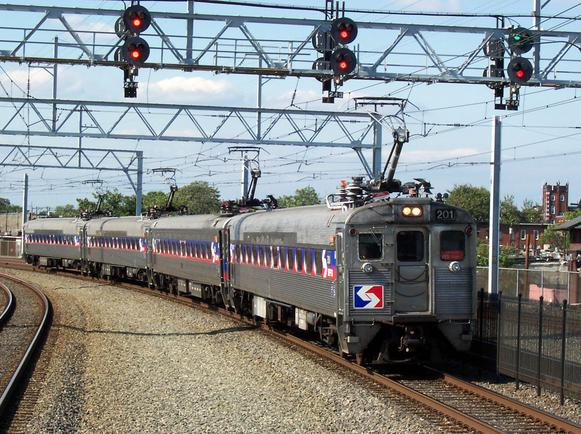 SEPTA Silverliner II and III cars entering Temple University station.