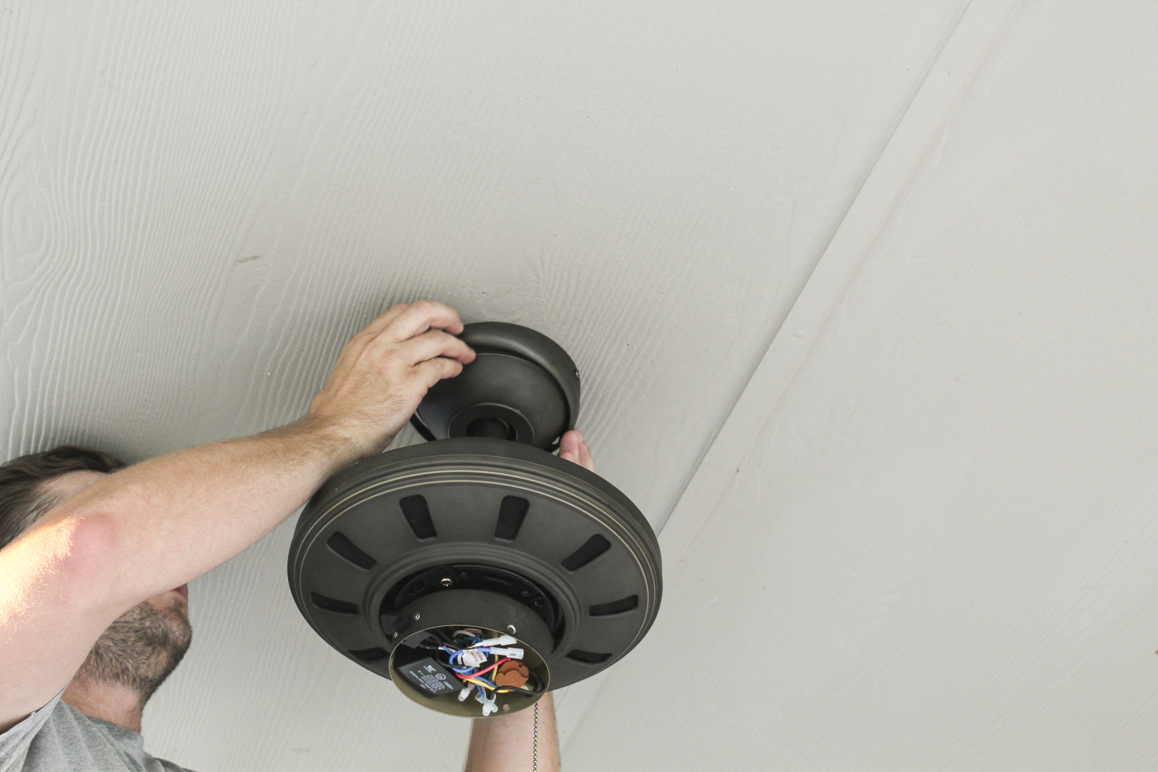 Grayzer Electric Residential Austin Electrician How To Install Wires And Wiring A Ceiling Fan Without Light Free Download The Receiver Fits Nicely Up In Canopy Of Hidden Away Where No One Can See Fit Ring Against Tighten