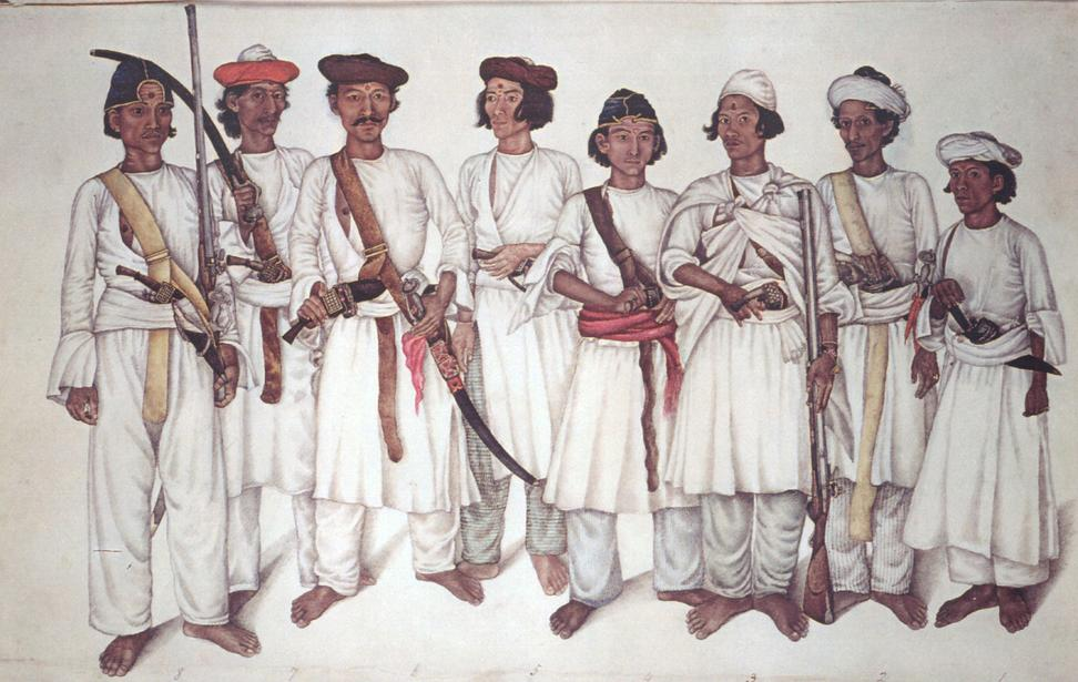 Eight Gurkhas circa 1815 typical of those who fought against the British East India Company