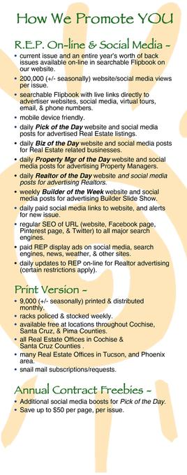 Real Estate Press, Southern Arizona promo details