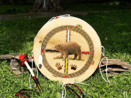 painting of a beautiful bear totem on a thunder drum from thunder valley drums