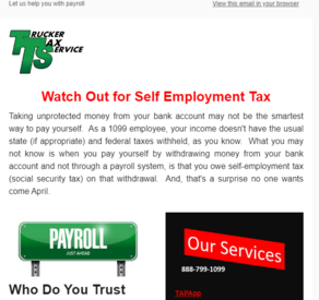 Trucker Tax Service publishes a tax newsletter for the OTR driver