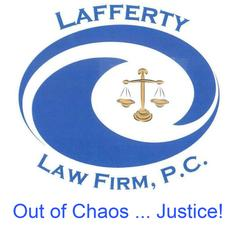Logo for Lafferty Law Firm, P.C. Two blue swirls with scales of justice inside. Tag line below reads Out of Chaos...Justice