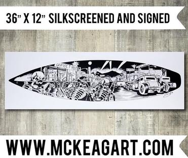 "12"" x 36"" ""Sunset Strip"" hand screen printed on 100 lb stock"