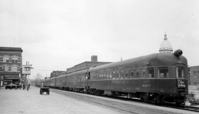 "Gulf, Mobile and Ohio's ""The Ann Rutledge"" train No. 19 southbound, departing from Springfield, Illinois in 1957."