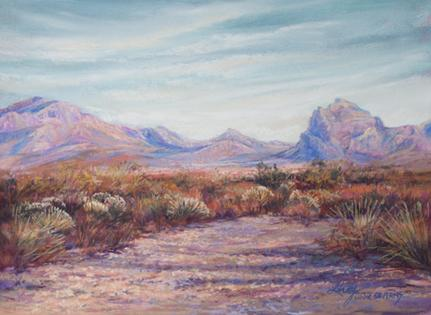 Autumn Color, West Texas Style, a small desert landscape in pastel by Texas painter Lindy Cook Severns, Old Spanish Trail Studio, Fort Davis TX