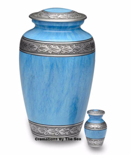 Light Blue Alloy Urn