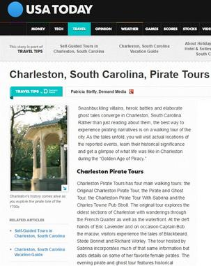 Charleston Pirate Tours and USA Today