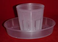 clear 5 inch orchid saucer with clear plastic orchid pot 3 inch round slots small cone extra drainage air circulation seedling
