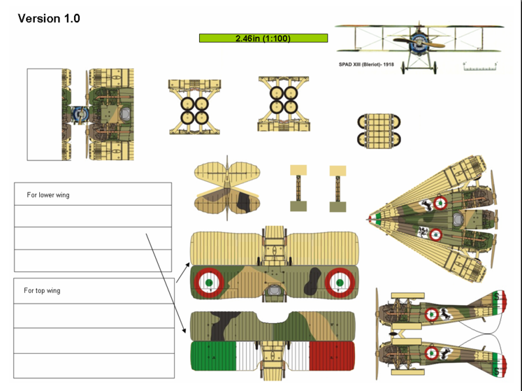 4D model template of SPAD S.XIII